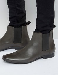 Frank Wright Chelsea Boots In Grey Leather Grey