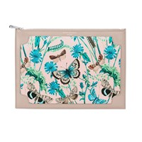 Aspinal Of London Zip Top Botanical Pouch Taupe