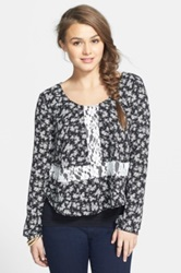 Lush Long Sleeve Lace Inset Top Juniors Black