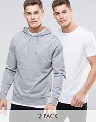 Asos Hoodie And Longline T Shirt 2 Pack Save 15 White Grey Multi