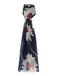 Dickins And Jones Wide Silk Daisy Print Scarf Navy