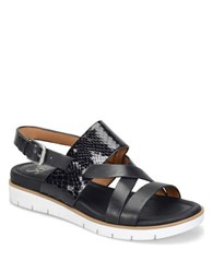 Sofft Marisol Mixed Media Leather Slingback Wedge Sandals Black