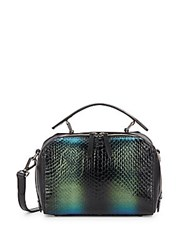 Dannijo Ricci Mini Snake Embossed Leather Crossbody Bag Nero Multi