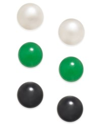 Macy's 3 Pc. Set Cultured Freshwater Pearl 8Mm Onyx 8Mm And Jade 8Mm Stud Earrings In Sterling Silver