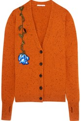 Christopher Kane Lost And Found Appliqued Wool Cardigan Orange