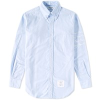 Thom Browne Hector Embroidered Arm Stripe Shirt Blue