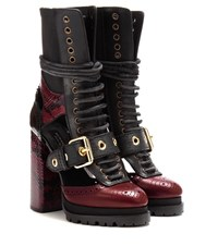 Burberry Westmarsh Embellished Leather And Snakeskin Boots Red