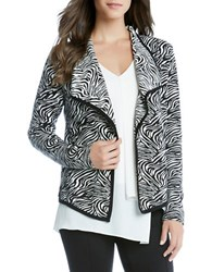 Karen Kane Zebra Printed Open Front Jacket Black White