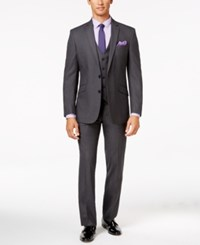 Kenneth Cole Reaction Gray Tonal Shadow Check Slim Fit Vested Suit