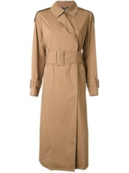 Muveil Belted Trench Coat Brown