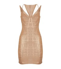 Herve Leger Herve Leger Celestia Woodgrain Foil Print Dress Female Metallic