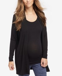 Motherhood Maternity Open Front Draped Cardigan Black