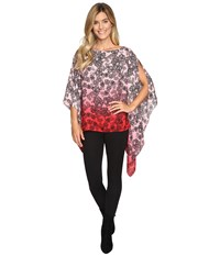 Vince Camuto Festive Lace Ombre Poncho Fire Glow Women's Coat Red