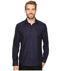 Bugatchi Lorenzo Long Sleeve Woven Shirt Night Blue Men's Long Sleeve Button Up Navy