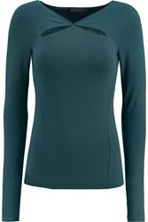 Donna Karan Cutout Stretch Jersey Top Blue