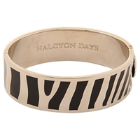 Halcyon Days Palladium Plated Enamel Zebra Stripe Bangle Black