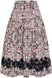 Tomas Maier Sevilla Lace Trimmed Printed Cotton Poplin Skirt Black
