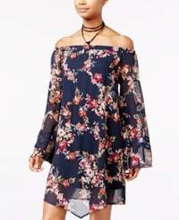 American Rag Off The Shoulder Floral Print Shift Dress Only At Macy's Dark Denim Combo