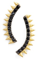 Freida Rothman Spike Linear Earrings Gold Black