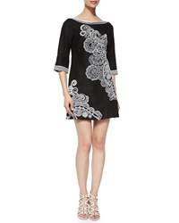 Nanette Lepore 3 4 Sleeve Paisley Print Dress Black