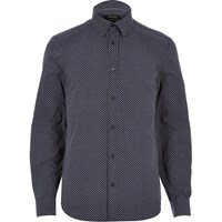 River Island Mens Navy Blue Arrow Print Shirt