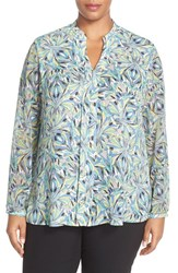 Plus Size Women's Sejour Sheer Sleeve Split Neck Blouse Teal Green Sea Glass Print