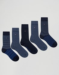 Tommy Hilfiger 5 Pack Sock In Gift Box Blue Blue