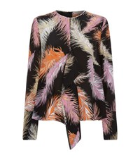 Emilio Pucci Feather Print Drape Silk Blouse Female Black