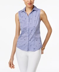 Charter Club Petite Nautical Print Sleeveless Shirt Only At Macy's Intrepid Blue