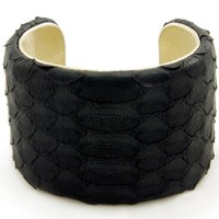 Charles And Perry Snake Skin Signature Cuff Black