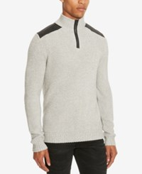 Kenneth Cole Reaction Men's Quarter Zip Pieced Shoulder Sweater Heather Grey