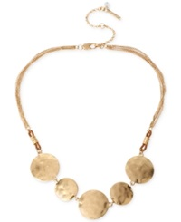 Kenneth Cole New York Gold Tone Hammered Disc Frontal Necklace