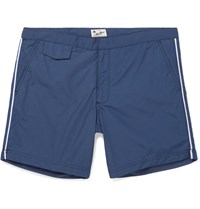 Hartford Socoa Mid Length Striped Swim Shorts Blue
