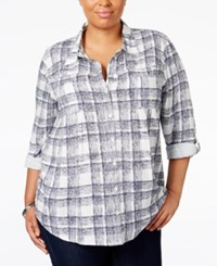 Styleandco. Style Co. Plus Size Plaid Shirt Only At Macy's Cambridge Plaid Blue