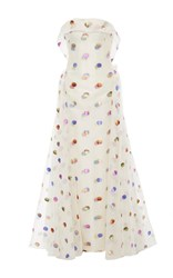 Zac Posen Strapless Lurex Polka Dot Gown White Blue Pink