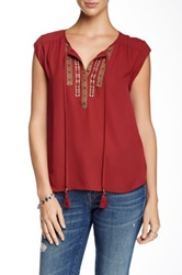 Daniel Rainn Cap Sleeve Embroidered Yoke Blouse