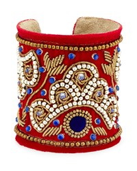 Chamak By Priya Kakkar Velvet Beaded Cuff Bracelet Red