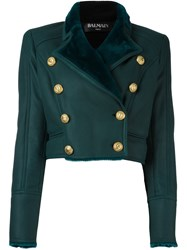 Balmain Double Breasted Cropped Jacket Green