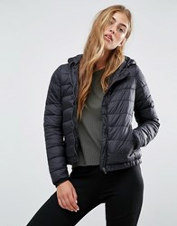 Pull And Bear Pullandbear Light Quilted Hooded Jacket Black