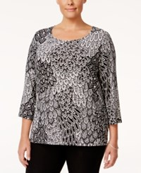 Jm Collection Plus Size Floral Jacquard Top Only At Macy's Black Feather