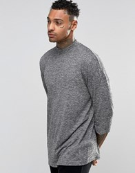 Asos Slub Oversized 3 4 Sleeve T Shirt With Turtle Neck Grey