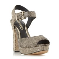 Head Over Heels Myli Two Part Platform Sandals Gold