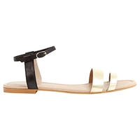 Mint Velvet Khloe Leather Sandals Black Gold