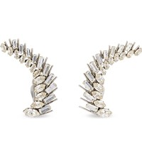 Saint Laurent Crystal Cuff Earrings Silver