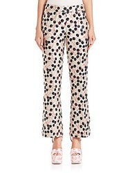 Giamba Flared Cherry Print Jacquard Pants Black