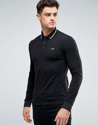Armani Jeans Polo Shirt With Tipping In Black Slim Stretch Fit Long Sleeves Black