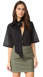 Matin Button Up Shirt With Scarf Black