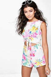 Boohoo Open Front Tie Waist Floral Playsuit Multi