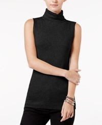 Maison Jules Sleeveless Mock Turtleneck Top Only At Macy's Deep Black