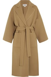 Loewe Belted Wool And Cashmere Blend Coat Camel